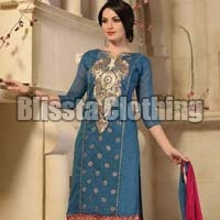 Blue Chanderi Embroidered Suit