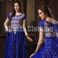 Blue Synthetic Gown