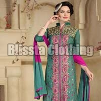 Green Chanderi Embroidered Suit