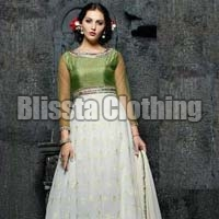 Green & White Anarkali Gown