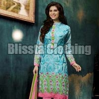Sky Blue Chanderi Embroidered Suit