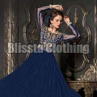 Navy Blue Ceremonial Net Gown