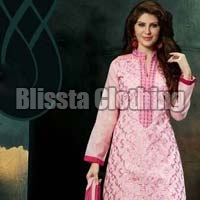 Chanderi Light Pink Embroidered Suit