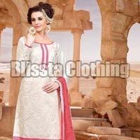 White & Pink Party Wear Embroidered Suit