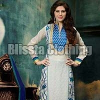 White Chanderi Embroidered Suit