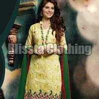 Yellow Chanderi Embroidered Suit