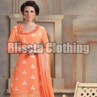 Orange Embroidered Dress Material