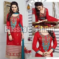 Red Embroidered Chudidar Suit