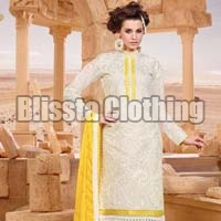 White Party Wear Embroidered Suit