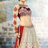 Designer Lehenga Choli with Creamcolor Lahenga and Net Fabric - 9501