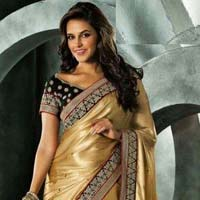Latest Stylish Brocade Designer Saree with Beige Color - 9214