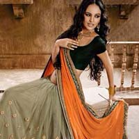 Latest Stylish Chiffon Designer Saree with Beige Color - 9458