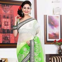 Designer Saree with Green Color
