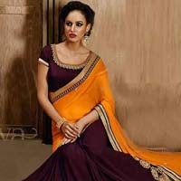 Chiffon Designer Saree with Purple Color