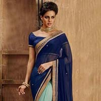chiffon designer saree with sea green color