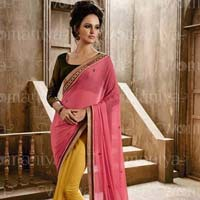 Designer Saree with Yellow Color