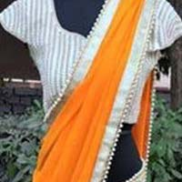 Georgette designer saree with Orange color