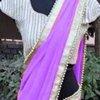 Georgette designer saree with Magenta color