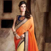 georgette designer saree with yellow color
