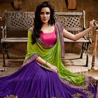 Latest Stylish Georgette Designer Saree with Purple Color - 9455