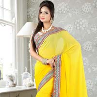 Latest Stylish Georgette Designer Saree with Yellow Color - 9216a