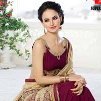 Georgette Designer Saree with Maroon Color