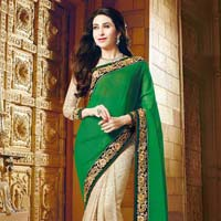 Latest Stylish Georgette Designer Saree with Beige Color - 9602