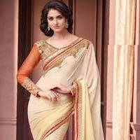 Designer Saree with Beige Color
