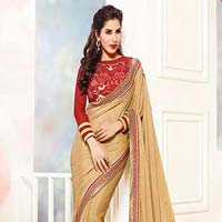 Georgette Designer Saree with Beige Color