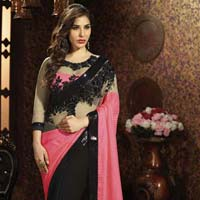 Georgette Designer Saree with Black Color - 9472