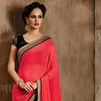 Latest Stylish Georgette Designer Saree with Black Color - 9453