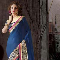 Georgette Designer Saree with Blue Color
