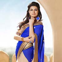 Latest Stylish Georgette Designer Saree with Blue Color - 9145