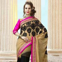 Latest Stylish Georgette Designer Saree with Brown Color - 9292