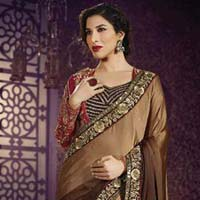 Stylish georgette designer saree with Brown color