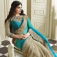 Latest Stylish Georgette Designer Saree with Cream Color - 9487