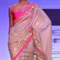 Georgette designer saree with Cream color