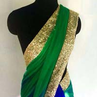 Latest Stylish Georgette Designer Saree with Green Color-9300