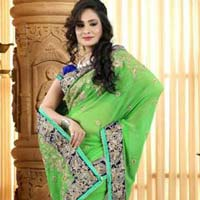 Latest Stylish Georgette Designer Saree with Green Color - 9250a