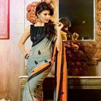 Latest Stylish Georgette Designer Saree with Grey Color - 9195