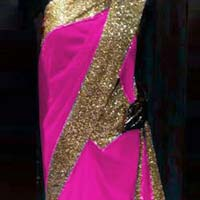 Latest Stylish Georgette Designer Saree with Pink Color-9329 Pink