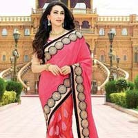 Latest Stylish Georgette Designer Saree with Pink Color - 9444