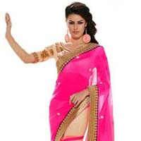 Latest Stylish Georgette Designer Saree with Pink Color - 9146