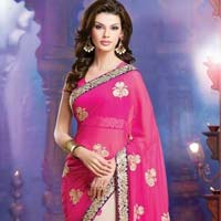 Latest Stylish Georgette Designer Saree with Pink Color - 9238