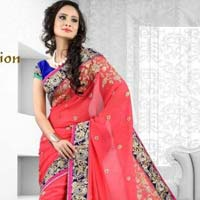 Latest Stylish Georgette Designer Saree with Pink Color - 9250b