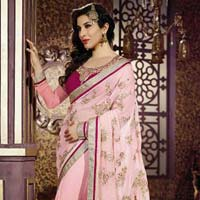 Latest Stylish Georgette Designer Saree with Pink Color - 9378