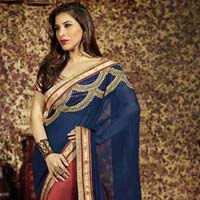 Latest Stylish Georgette Designer Saree with Red Color - 9474
