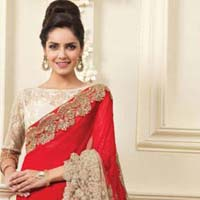 Latest Stylish Georgette Designer Saree with Red Color - 9471