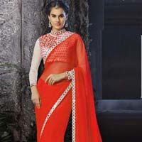 Designer Saree with Red Color