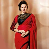 Latest Stylish Georgette Designer Saree with Red Color - 9194a